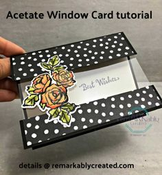 Simple Acetate window card featuring Petal Palette Recently I held a holiday make n'take fest for my team featuring 16 projects for them to make with new catalog products. Over the coming… Card Making Tips, Card Making Tutorials, Card Making Techniques, Making Ideas, Stampin Up Karten, Karten Diy, Fun Fold Cards, Folded Cards, Joy Fold Card