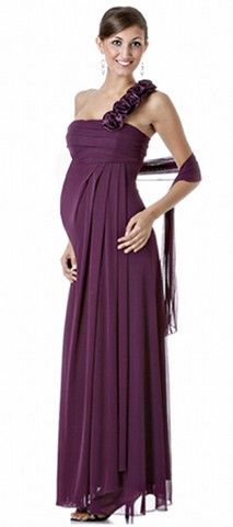 4513f80a2d8 Trendy Tummy Maternity Emily One Shoulder Long Formal Maternity Dress -Brown-Small