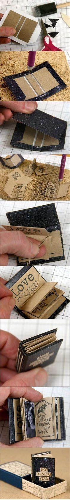 Book binding tutorial diy mini albums new Ideas Fun Crafts, Diy And Crafts, Arts And Crafts, Mini Albums, Diy Paper, Paper Crafts, Little Presents, Mini Album Tutorial, Ideias Diy