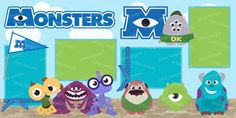 Monsters 2 Page Scrapbook Kit