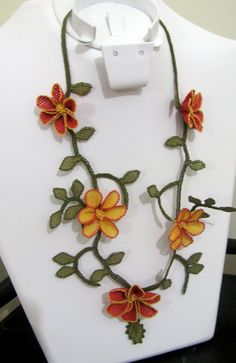 Orange and Red Flowers Necklace.