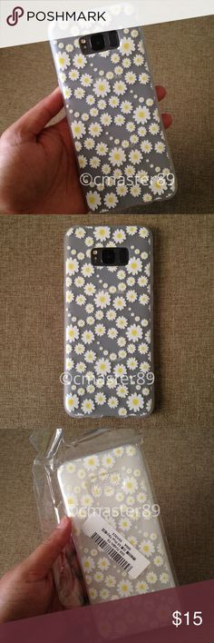 Daisy Flowers Phone Case Samsung S8 + Plus Made of TPU silicone, you can bet that this phone case will be the perfect fit between protection and cuteness! It has raised lips on the edges so no sweat if you drop your phone! I have used my phone Samsung S8 Plus to show you what it looks like on. This case is clear and has a frosted appearance as you can see.   **Don't forget to bundle for combined shipping and the extra discount** Accessories Phone Cases