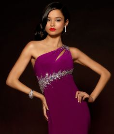 Gemstone One Shoulder Gown with Slit #prom