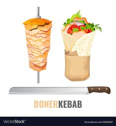Döner Kebab Promo Poster mit Meet am Spieß und Messer Shawarma, Food Menu Design, Food Poster Design, Turkish Doner, Doner Kebabs, World Street Food, Container Restaurant, Food Sketch, Food Icons