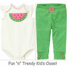 NWT OUTFIT GYMBOREE WATERMELON DARLING GIRLS SIZE 12 18 MONTHS LEGGINGS BODYSUIT