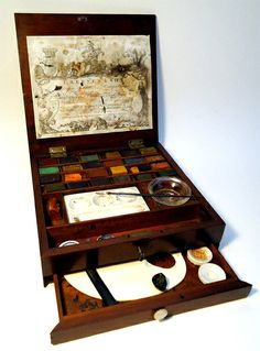 From around 1784 this boxed set of watercolor paint and equipment was made by Thomas Reeves & Son They founded the Reeves Co. Artist supplier still in existance today. Thomas and his brother William invented the dry paint block that got more artists out o Winsor And Newton Watercolor, Watercolor On Wood, Watercolour Painting, Merian, Artist Aesthetic, Artist Supplies, Antique Paint, Painted Boxes, Box Art