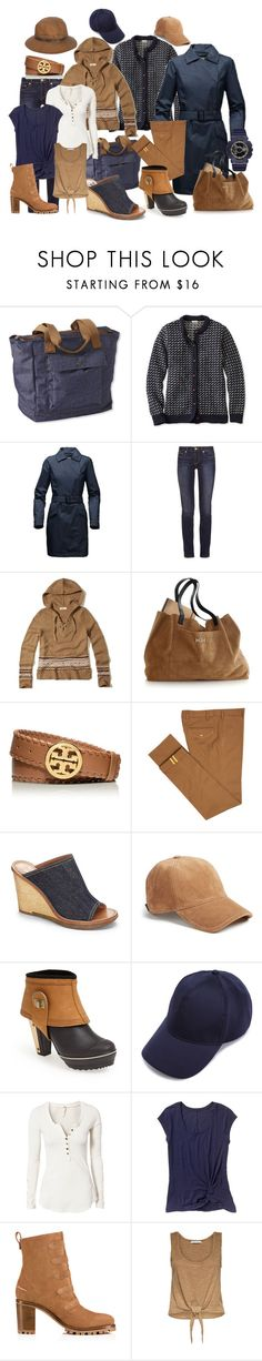 """""""Untitled #170"""" by joslinb ❤ liked on Polyvore featuring L.L.Bean, The North Face, Tory Burch, Hollister Co., Mark & Graham, Diverso, Vince Camuto, rag & bone, Barbour and SOREL"""