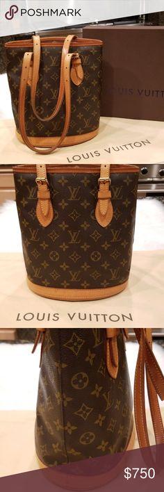 eec461f662a0 Louis Vuitton Monogram Canvas Bucket Bag Gently Used Louis Vuitton Monogram  Canvas Petit Bucket Bag.