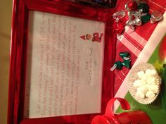 A sweet letter from our new Elf on the Shelf!