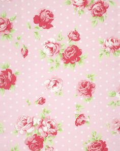 New Tanya Whelan Collection! Pre-Sale Lulu Roses PWTW093.PINKX, Shabby Chic Floral Fabric, Roses on Dots Fabric, Free Spirit