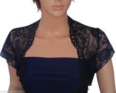 Ladies short sleeve Red or Navy Lace Bridesmaids Bolero/Shrug Sizes 8,10,12,14