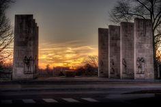 The War Memorial Pylons tonight. (HDR photo, by Virginia Tech Online #VirginiaTech #hokies