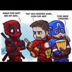 #SundayFunnies  Anybody know the artist of this?  #Deadpool #IronMan #CaptainAmerica #language #TonyStark #SteveRogers #WadeWilson