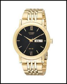 Citizen Quartz Day Date Gold Tone Black Dial Men's Watch - BK4052-59E