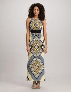 Petites | Dresses | Maxi Dresses | Petite Aztec Halter Maxi Dress