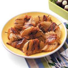 Grilled Bacon-Onion Appetizers Recipe from Taste of Home -- shared by Dayton Hulst of Moorhead, Minnesota
