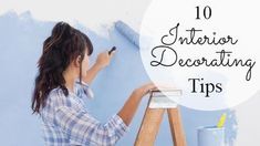 A creative youtube video template. A background video of a girl painting the wall with a text box displaying 10 interior decorating tips.