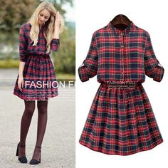 Plaid Long Sleeve Dress