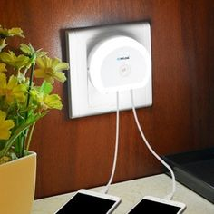 Brelong Creative Light Switch + Sensor Led Night Light with Dual Usb
