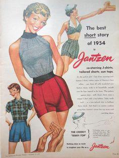JANTZEN WOMENS FASHION AD 1954 original retro vintage AUSTRALIAN advertising