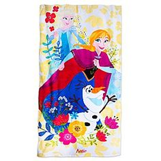 Frozen Beach Towel - Personalizable | Disney Store Find your place in the sun with Anna, Elsa, and Olaf on our floral <i>Frozen</i> beach towel made of soft terry cotton.
