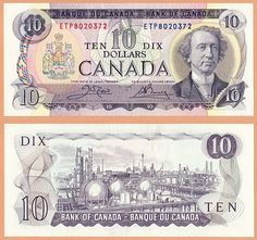Old Canadian 10 dollar bill featuring Chemical Valley, Sarnia, ON 10 Dollar Bill, Dollar Bill Origami, Old Coins, Rare Coins, Ontario, Canadian Things, Money Notes, Valuable Coins, Canadian Dollar