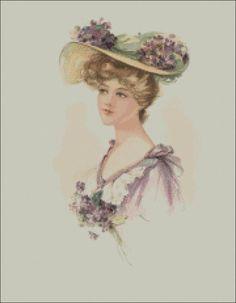 Vintage Lady 2 Cross Stitch Pattern PDF by lisalskinner on Etsy, $3.75