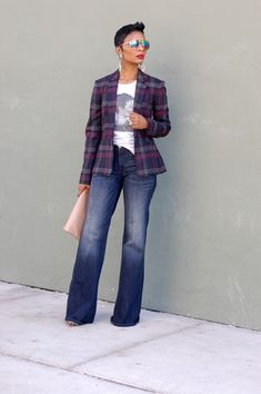 Need a plaid blazer like this to add to my collection now......but with skinny jeans.  #yas