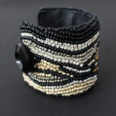 Bead Embroidered Cuff Black Gold by AlixH2010 on Etsy, $75.00