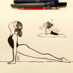 It's been 9 months since I started doing yoga. And this pose always confused me when I did the forward fold and breathe to this pose off and breathing FF down… I never got. Photo Yoga, Yoga Cartoon, Frases Yoga, Yoga Drawing, Yoga Illustration, Upward Facing Dog, Bikram Yoga, Restorative Yoga, Yoga Art