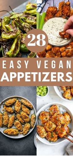 These easy vegan appetizers are simple to make but big on flavor. They're sure to impress your friends and family at your next party! Healthy Recipes On A Budget, Vegetarian Recipes Dinner, Easy Healthy Recipes, Vegetarian Christmas Recipes, Vegan Appetizers, Appetizers For Party, Appetizer Recipes, Aperitivos Vegan, Vegan Party Food