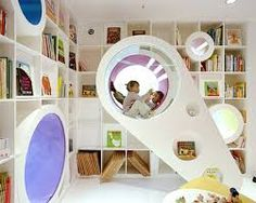 cool kids play rooms - white book shelves
