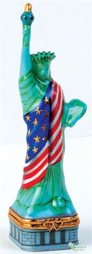 Statue Of Liberty With Flag Genuine Limoges Box.
