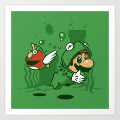 "Super Mario in a Kermit the Frog power up suit swimming with an ""Animal"" fish."