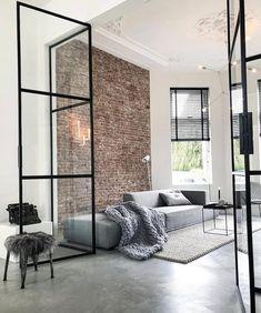 70 Awesome Minimalist Living Room Decor Ideas - Home design ideas Home Living Room, Living Room Designs, Living Room Decor, Living Spaces, Living Room Brick Wall, Apartment Living, Brick Room, Barn Living, York Apartment