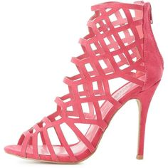 Charlotte Russe Laser Cut Dress Sandals ($39) ❤ liked on Polyvore featuring shoes, sandals, berry, berry shoes, sexy open toe shoes, heeled sandals, dress sandals and open toe sandals