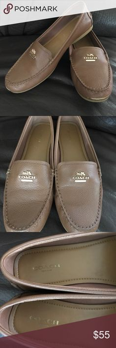 Coach Leather Flats, Sz 8.5, Tan Coach sz. 8.5 beautiful and flexible genuine leather flats. Barely used. Color is Tan. Minor wear at front of toe as shown in pic. Non-smoker. Coach Shoes Flats & Loafers