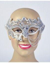 Silver/White Decorative 3/4 Glasses Style