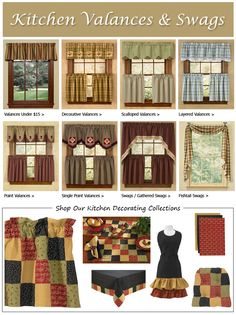 Need ideas for kitchen curtains?......Park Designs.....LOVE their curtains