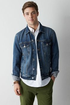 $69, Navy Denim Jacket: American Eagle Denim Jacket Size S. Sold by American Eagle. Click for more info: https://lookastic.com/men/shop_items/253299/redirect