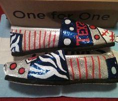 Texas Ranger Toms by Karen Laughlin Hand Painted Toms, Painted Shoes, Baseball Mom, Texas Rangers, Custom Shoes, Silver Glitter, Espadrilles, Gift Ideas, Deco
