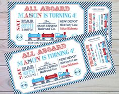 Train Birthday Invitation  Train Party Invitation  Train