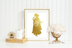 SNOW WHITE - SOMEDAY MY PRINCE WILL COME SNOW WHITE - 8 x 10 print, gold foil, home decor, home decorating, Disney, Snow White, disney princess, princess, styled print. SNOW WHITE - SOMEDAY MY PRINCE WILL COME - gold foil 8x10 print with. Print attached to matting with thick backing ready to frame. This listing is for a handmade gold foil print. INCLUDED: 8x10 print adhered to 8x10 white backing ready to frame *Frame not included *Due to the handmade nature of this item each print is…
