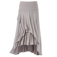 "Petals Wrap Front Skirt  Exclusive! This skirt's wide-panel waist creates the flattering shape! Asymmetric tiers wrap and overlap like flower petals into a high/low front. Stretch rayon/polyester. Hand washable. Made in USA. Color: Oyster. Sizes: XS (2-4), S (6-8), M (10-12), L (14-16), XL (18), 1X (18W-20W), 2X (22W-24W), 3X (26W-28W); 28"" long (center back)."