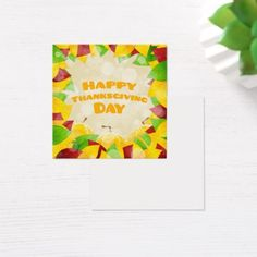 Happy Thanksgiving Day Square Business Card - diy cyo customize create your own personalize