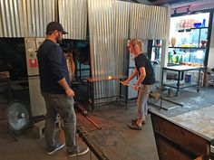 Blow-your-own glass activity at Rainier Glass Studio in Seattle.