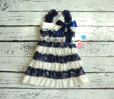nautical dress, baby girls dress, Navy Blue Stripes Lace Dress, ruffle dress, baby dress,Birthday outfit, flower girl dress, , Toddler dress on Etsy, $26.99