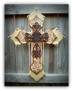 Large Wall CROSS  3 layers  antiqued damask by happygoose on Etsy, $59.95