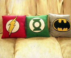 "Decorating Idea. I like iconic logo designs. That red ""Flash"" pillow would go well in my reading chair."