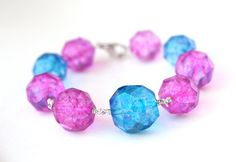 Chunky Bracelet Neon Pink and Blue Sterling Silver by WrennJewelry, $32.00